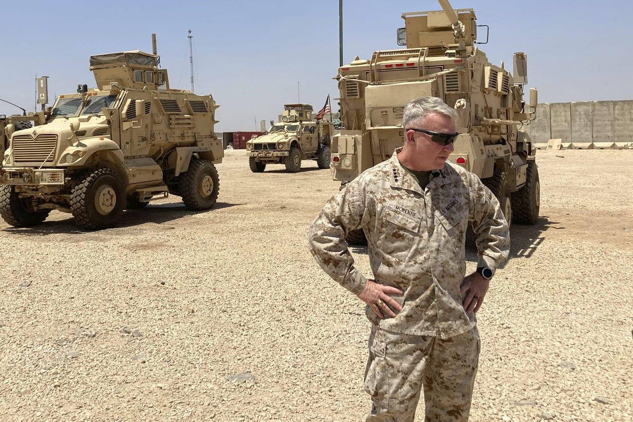Les Etats-Unis ont frappé des milices pro-iraniennes en Irak et en Syrie. Image d'illustration des troupes américaines prise en Syrie le 21 mai 2021. [Lolita C. Baldor - Keystone/AP photo]