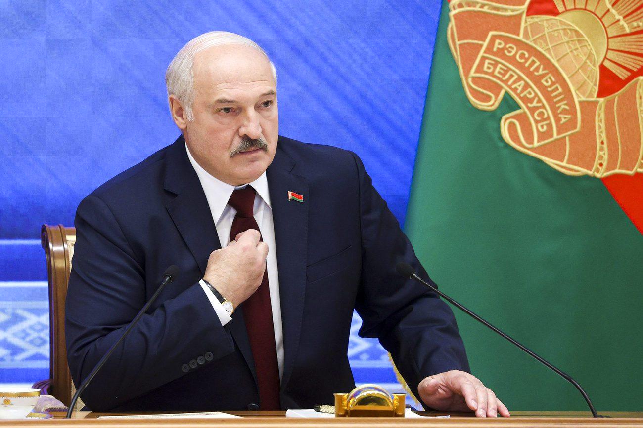 Alexandre Loukachenko lors de sa conférence de presse à Minsk