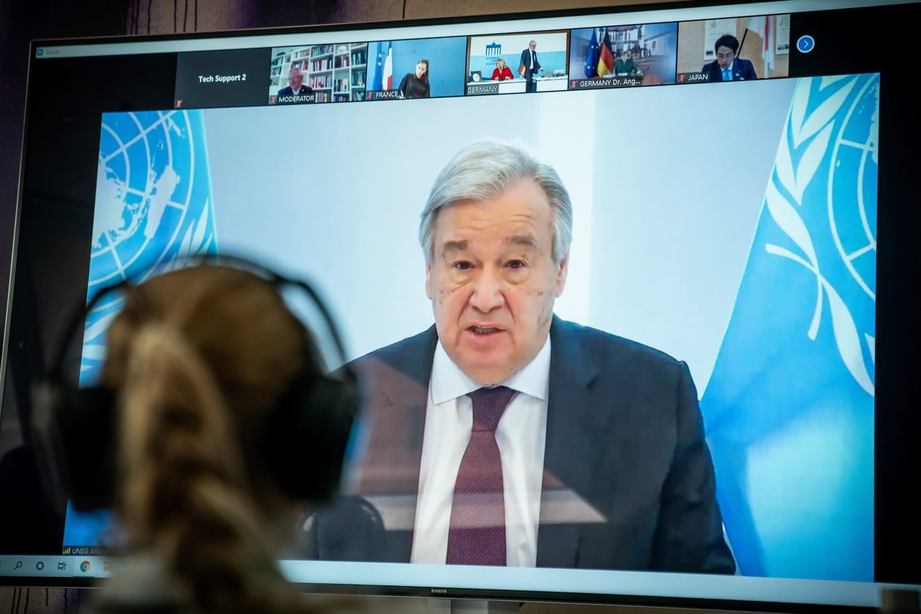 Le secrétaire général de l'ONU Antonio Guterres. [Michael Kappeler - Pool/EPA/Keystone]