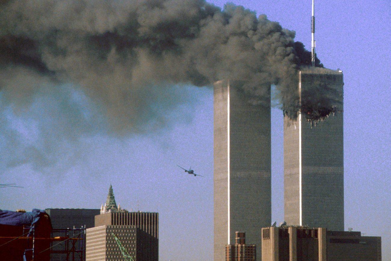 Les deux tours jumelles du World Trade Center à New-York juste avant l'impact du deuxième avion