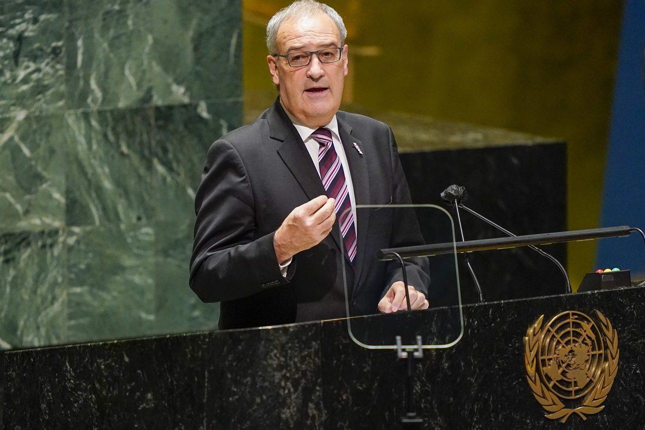 Guy Parmelin lors de son allocution devant l'Assemblée générale des Nations Unies à New York. [Mary Altaffer - Keystone/EPA]